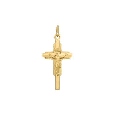Cruz en oro amarillo de 18 Kilates cristo, 31.5 milímetros de ancho