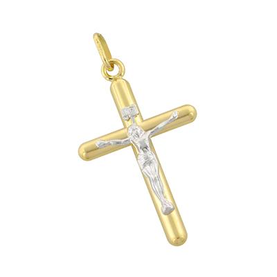 Cruz en oro amarillo de 18 Kilates rodinado cristo, 40 milímetros de ancho
