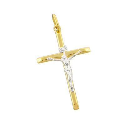 Cruz en oro amarillo de 18 Kilates rodinado cristo, 33.5 milímetros de ancho