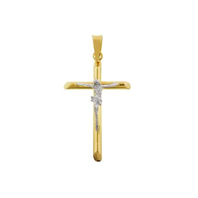 Cruz en oro amarillo de 18 Kilates, cristo rodinado, 25 milímetros de largo, 15 milímetros de ancho.