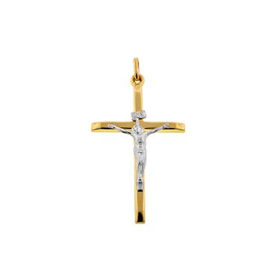 Cruz en oro amarillo de 18 kilates, cristo rodinado, 34 milímetros de largo, 19.5 milímetros de ancho.