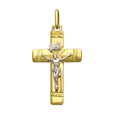 Cruz en oro amarillo de 18 Kilates rodinado satinado cristo, 26.5 milímetros de ancho