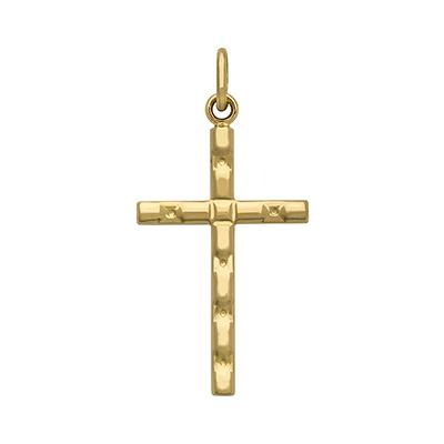 Cruz en oro amarillo de 18 Kilates moderna, 18 milímetros de ancho