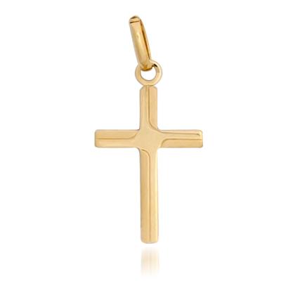 Cruz en oro amarillo de 18 Kilates satinada/plana, 17.5 milímetros de largo, 10.5 milímetros de ancho.