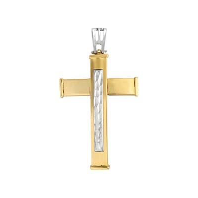 0710605028 - Cruz en oro amarillo de 18 Kilates con visos, Plana