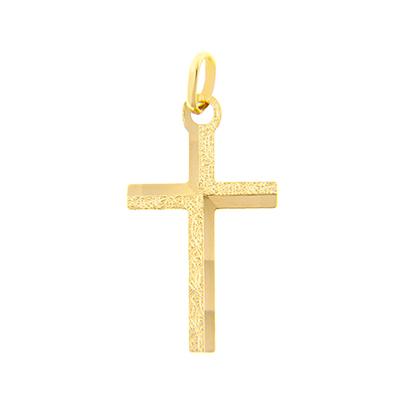 0710607009 - Cruz en oro amarillo de 18 Kilates con visos, Plana, 13 mm. de ancho