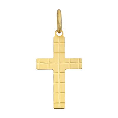 Cruz en oro amarillo de 18 Kilates visos plana, 21.5 milímetros de ancho