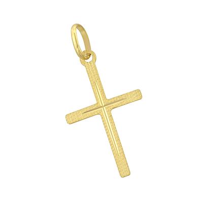 Cruz en oro amarillo de 18 Kilates visos satinado plana, 23.5 milímetros de ancho