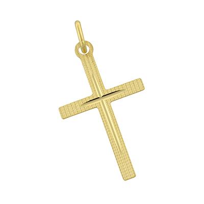 Cruz en oro amarillo de 18 Kilates visos satinado plana, 29 milímetros de ancho