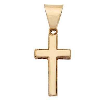 Cruz en oro amarillo de 18 Kilates plana, visos, 19 milímetros de largo, 10 milímetros de ancho.