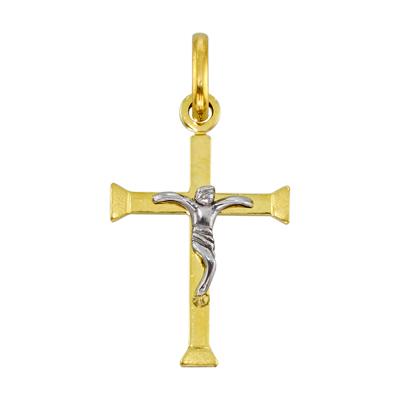 0740201006 - Cruz en 2 oros de 18 Kilates satinado, 11.50 mm. de ancho