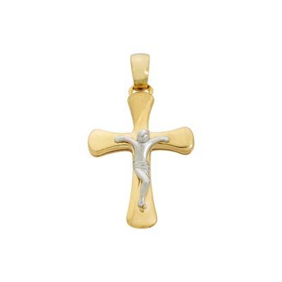 Cruz en 2 oros de 18 Kilates, cristo, 24 milímetros de largo, 16 milímetros de ancho