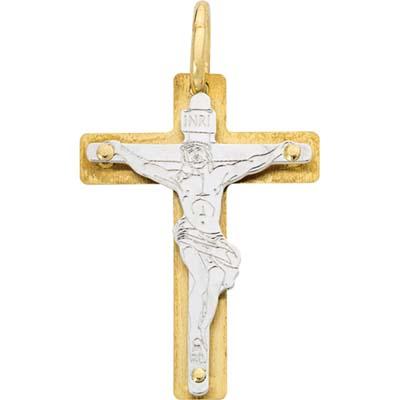 Cruz en 2 oros de 18 Kilates, cristo rodinado, 24.5 milímetros de largo, 18 milímetros de ancho.