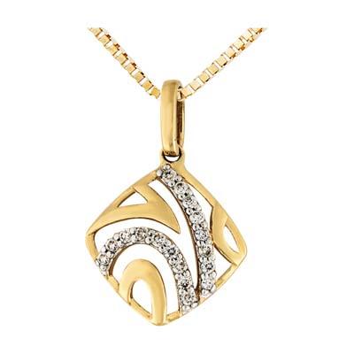Dije en oro amarillo de 18 Kilates con 17 diamantes de 0.10 Ct peso total.