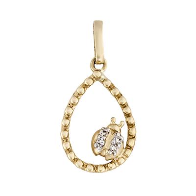Dije en oro amarillo de 18 Kilates con 4 diamantes de 0.02 Ct peso total.