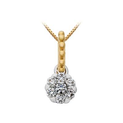 Dije en oro amarillo de 18 Kilates con 7 diamantes de 0.25 Ct peso total.