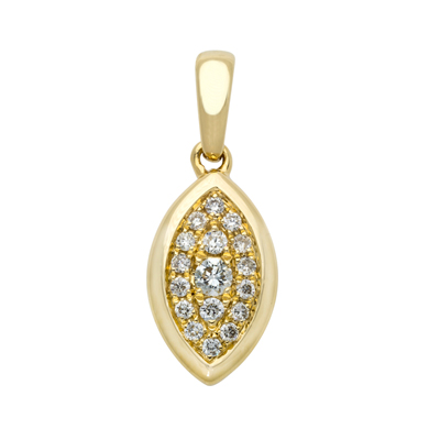 Dije en oro amarillo de 18 Kilates diseño con diamantes en decoracion de 0.16Ct peso total