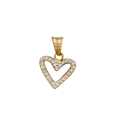Dije en oro amarillo de 18 Kilates corazon con zircon, 13 milímetros de ancho