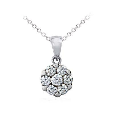 Dije en oro blanco de 18 Kilates con 7 diamantes de 0.55 Ct peso total de la colección flores para ti.