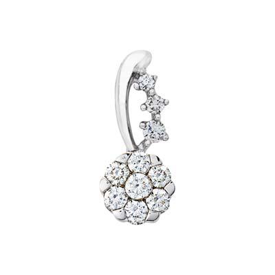 Dije en oro blanco de 18 Kilates con 10 diamantes de 0.15 Ct peso total de la colección Flores para ti.