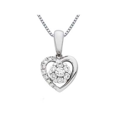 Dije en oro blanco de 18 Kilates con 16 diamantes de 0.20 Ct peso total de la colección Flores para ti.