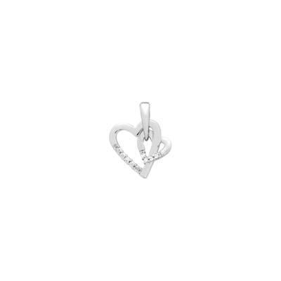 Dije en plata Ley 925 rodinado corazon con zircon, de la colección sueños