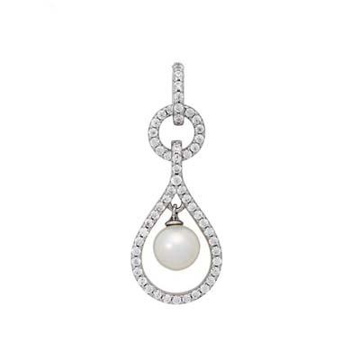 Dije en plata Ley 925 rodinado lagrima con perla, de la colección sueños