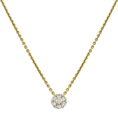 Gargantilla en oro amarillo de 18 Kilates con 7 diamantes 0.20 Ct peso total, tejido rolo de la colección flores para ti.