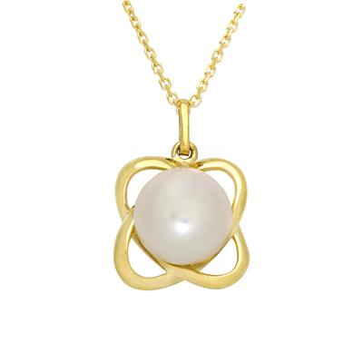 Gargantilla en oro amarillo de 18 Kilates, tejido rolo con perla, 40 centímetros de largo, 7 milímetros de ancho