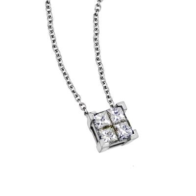 Gargantilla en oro blanco de 18 Kilates con 4 diamantes de 0.25 Ct Peso total, tejido rolo, 40 centímetros de largo de la colección princess.
