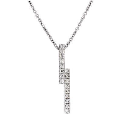 Gargantilla en oro blanco de 18 Kilates rodinado, tejido rolo con diamantes en decoracion de 0.13Ct peso total, 40 centímetros de largo