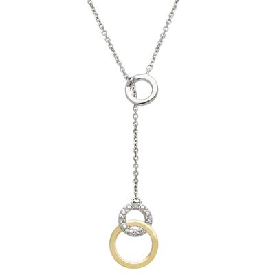 Gargantilla en 2 oros de 18 Kilates rodinado, tejido rolo con diamantes en decoracion de 0.02Ct peso total, 40 centímetros de largo
