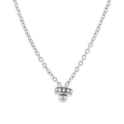 Gargantilla en plata ley 925, tejido rolo con cristales, 60 centímetros de largo, 2.5 milímetros de ancho