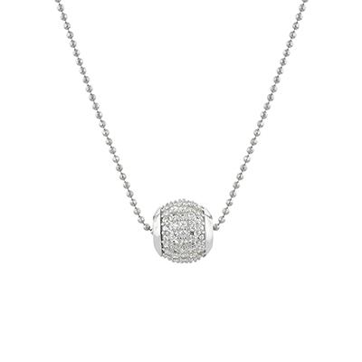 Gargantilla en plata Ley 925, tejido pallinato con cristales incoloros, 40 centímetros de largo, de la colección sueños.
