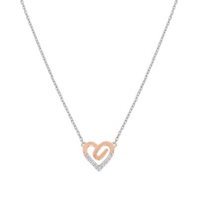 Gargantilla en plata Ley 925 rodinado, tejido corazones con zircon, 40 centímetros de largo, 1.5 milímetros de ancho, de la colección sueños