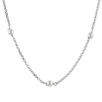 Gargantilla en plata Ley 925, tejido rolo con perla sintética, 45 centímetros de largo de la colección sueños.