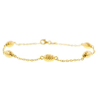 Pulsera en oro amarillo de 18 Kilates visos, tejido rolo, 19 centímetros de largo, 5 milímetros de ancho