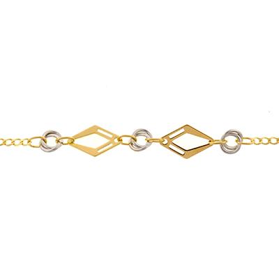 Pulsera en oro amarillo de 18 Kilates, tejido grumette plana, rombos y círculos rodinados, 18 centímetros de largo.