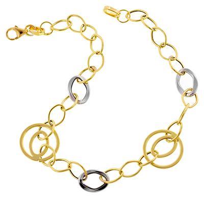 Pulsera en oro amarillo de 18 Kilates rodinado satinado, tejido ovalos abierto, 19 centímetros de largo, 4.5 milímetros de ancho