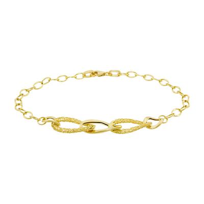 Pulsera en oro amarillo de 18 Kilates satinado, tejido ovalos abierto, 20 centímetros de largo, 3.5 milímetros de ancho