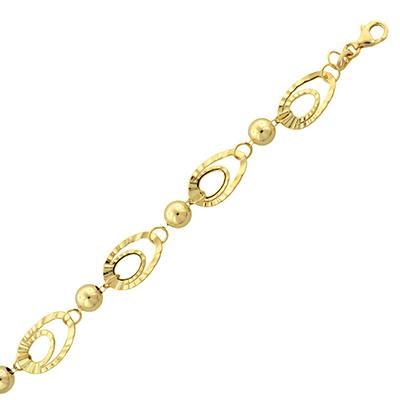 Pulsera en oro amarillo de 18 Kilates visos, tejido diseño, 20 centímetros de largo, 6 milímetros de ancho