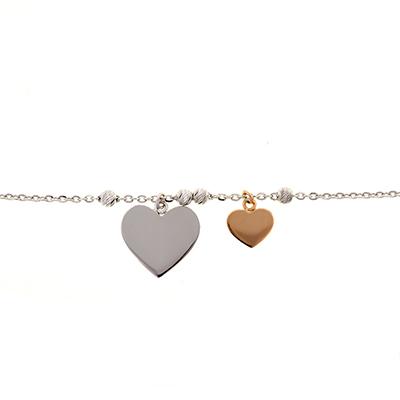 Pulsera en oro blanco de 18 Kilates, 2 tonos, tejido rolo, corazones, 18 centímetros de largo.