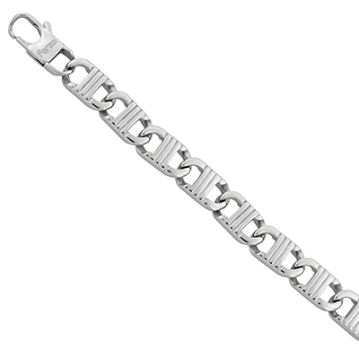 Pulsera en acero rodinado, tejido ancla, 22 centímetros de largo, 11 milímetros de ancho, de la colección forza