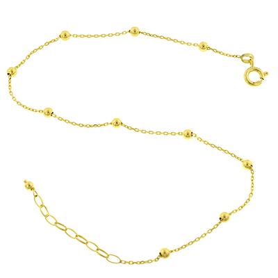 Tobillera en oro amarillo de 18 Kilates rolo, 3 milímetros de ancho
