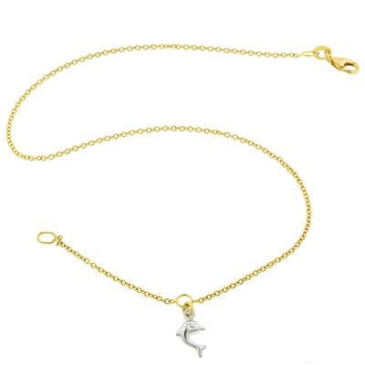 Tobillera en oro amarillo de 18 Kilates, tejido rolo, dije delfín rodinado, 24 centímetros de largo.