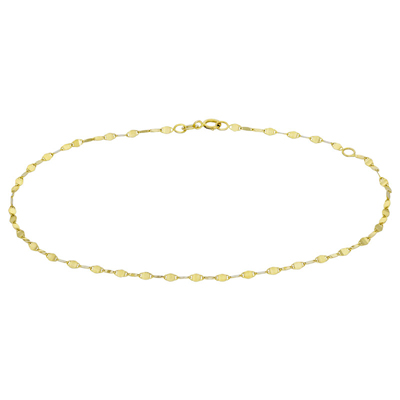 Tobillera en oro amarillo de 18 Kilates, tejido óvalos planos, 2 milímetros de ancho, 25 centímetros de largo.