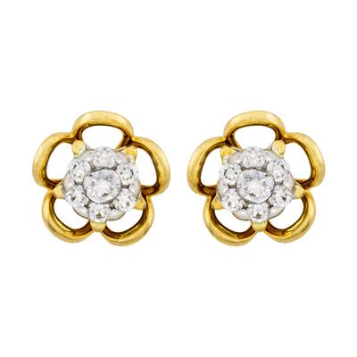 Topos en oro amarillo de 18 Kilates, Flor, con 14 diamantes en decoracion de 0.25 Quilates, con broche tipo: Mariposa, de la coleccion: Flores para ti