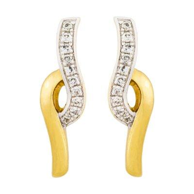Topos en oro amarillo de 18 Kilates franjas con diamantes en decoracion de 0.06Ct peso total