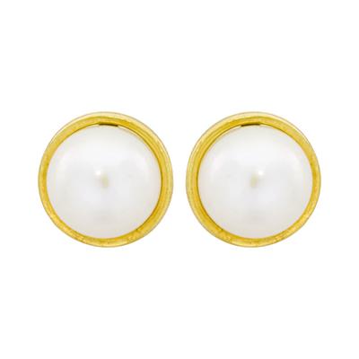 Topos en oro amarillo de 18 Kilates bisel con perla, 6 milímetros de ancho