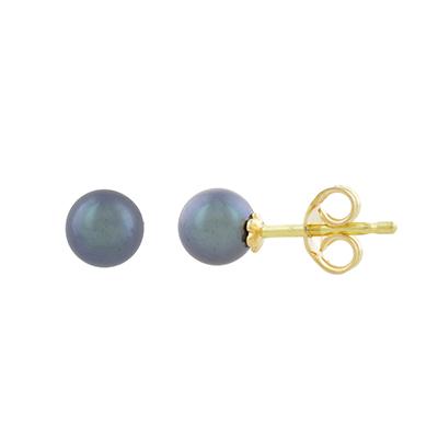 Topos en oro amarillo de 18 Kilates, Solitario, con 2 perlas en decoracion, 5.50 milimetros de ancho, con broche tipo: Mariposa